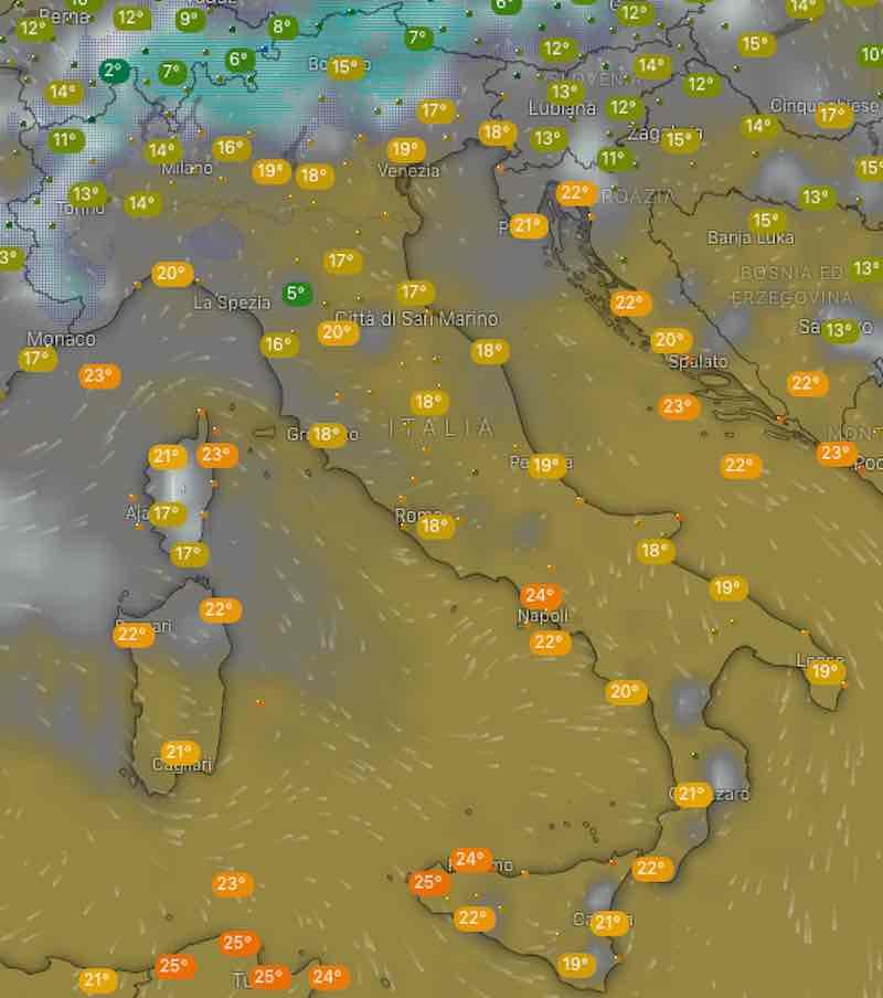 mappa nuvolosità e temperature mercoledì - Previsioni meteo oggi e domani martedì 16 e mercoledì 17 luglio in Italia - meteoweek.com