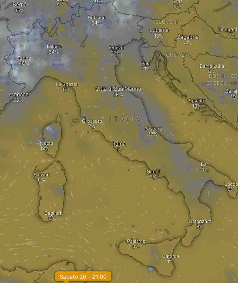mappa nuvolosità sera - Previsionidel fine settimana sabato 20 luglio 2019 - meteoweek.com