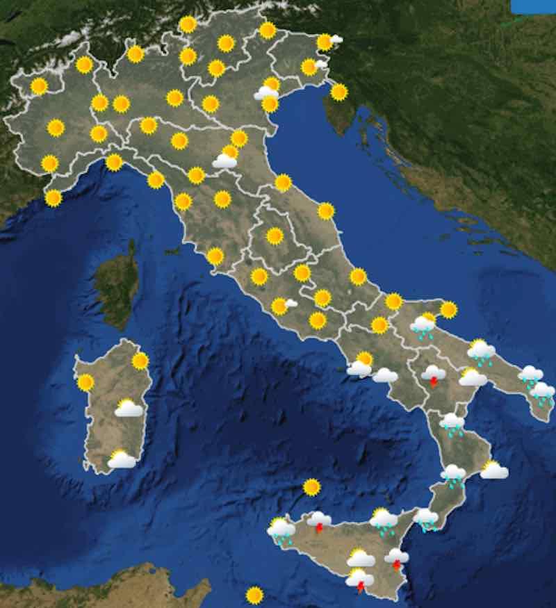 Meteo Cartina Italia.Previsioni Martedi Domani 16 Luglio Nuvolosita Temperature Venti E Mari