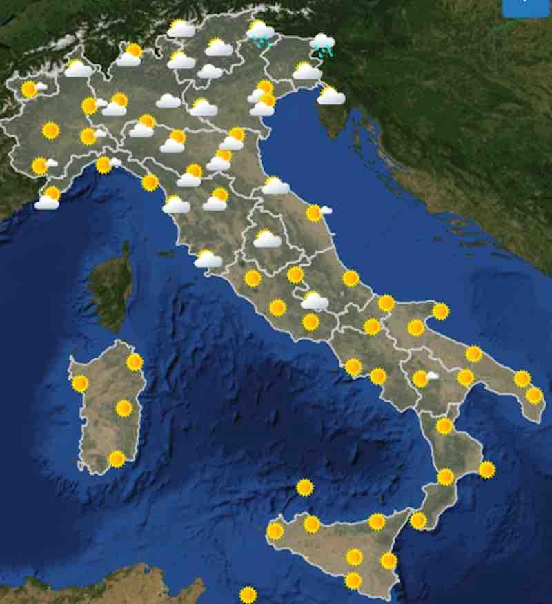 mappa ore 12 - Meteo domani previsioni del tempo di domani domenica 21 luglio in Italia - meteoweek.com