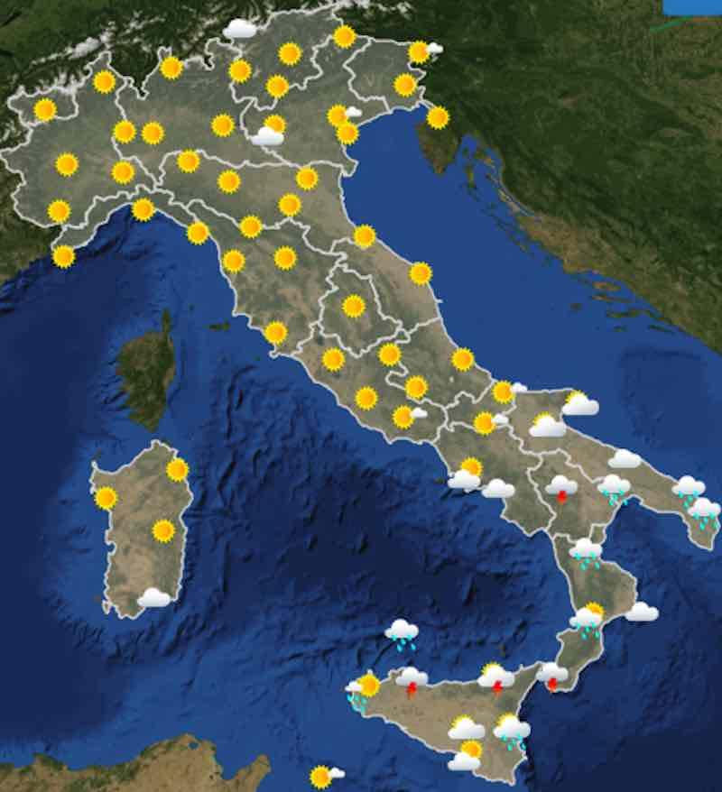 mappa ore 12 - Meteo oggi previsioni del tempo di martedì 16 luglio 2019 in Italia - meteoweek.com