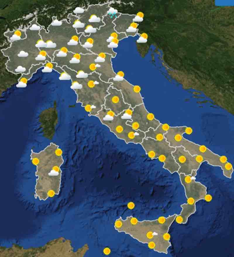 mappa ore 12 - Meteo oggi previsioni del tempo di sabato 20 luglio- nuvolosità, temperature mare e venti in Italia - meteoweek.com