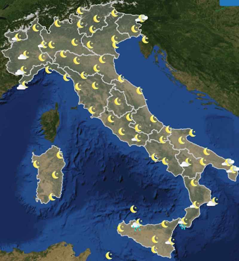 Mappa ore 18:00 - Previsioni martedì domani 16 luglio Italia nuvolosità, temperature, venti e mari - meteoweek.com