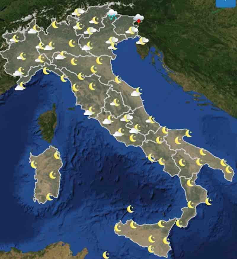 mappa ore 18 - Meteo domani previsioni del tempo di domani domenica 21 luglio in Italia - meteoweek.com
