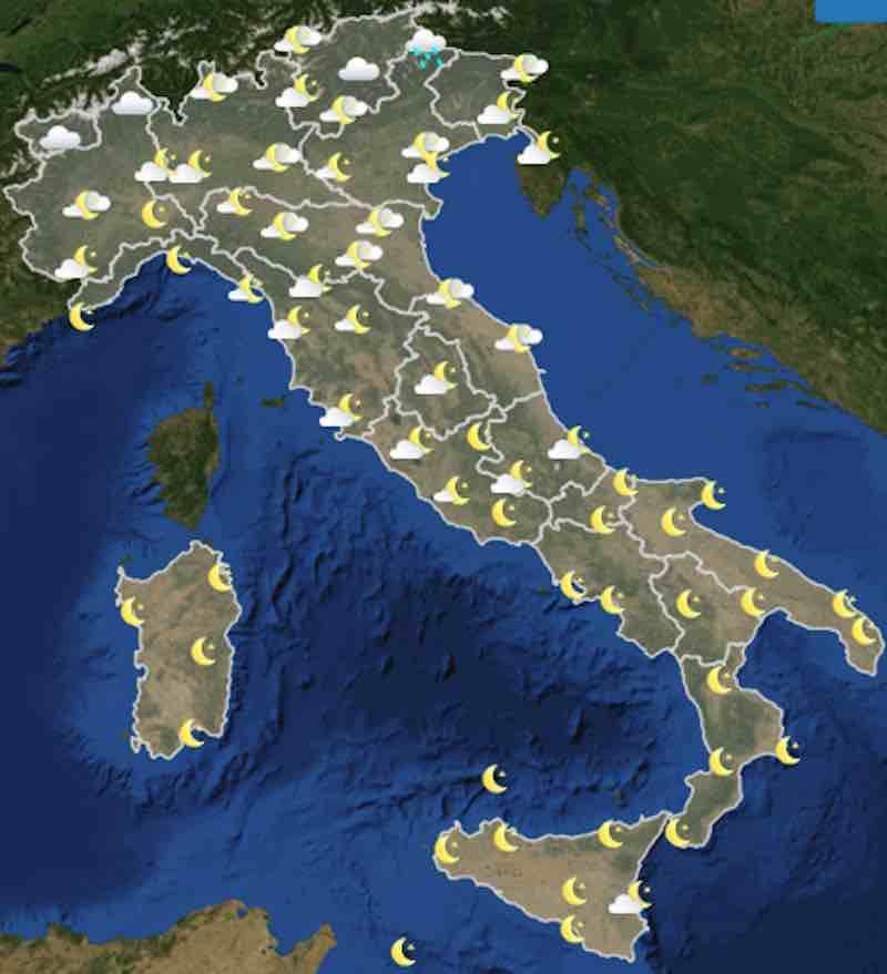 mappa ore 18 - Meteo oggi previsioni del tempo di sabato 20 luglio- nuvolosità, temperature mare e venti in Italia - meteoweek.com