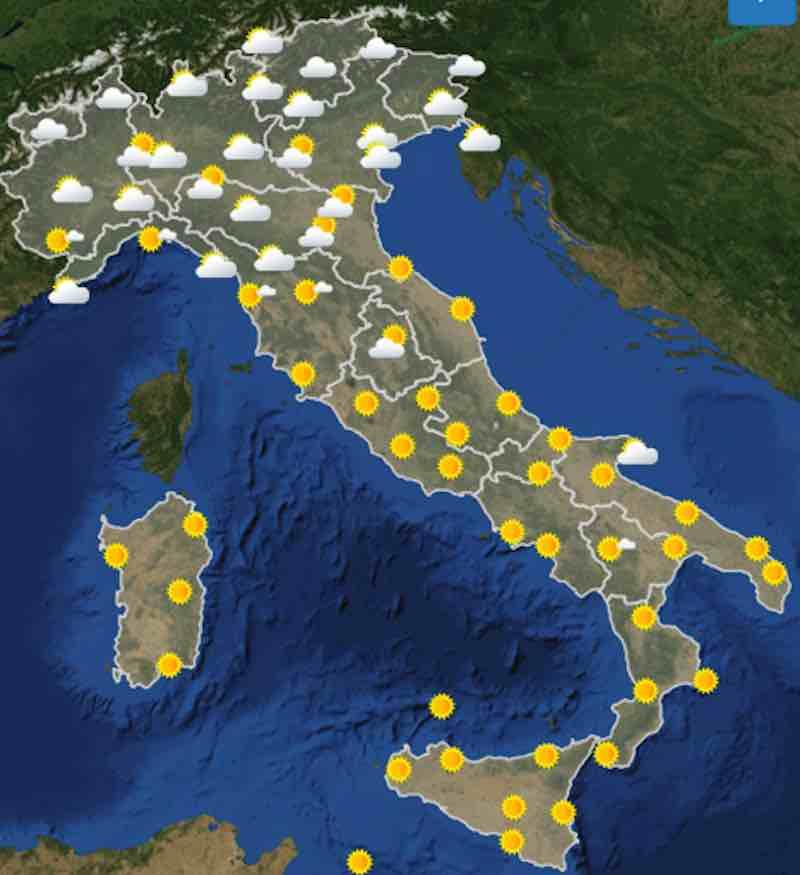 mappa ore 6 - Meteo domani previsioni del tempo di domani domenica 21 luglio in Italia - meteoweek.com
