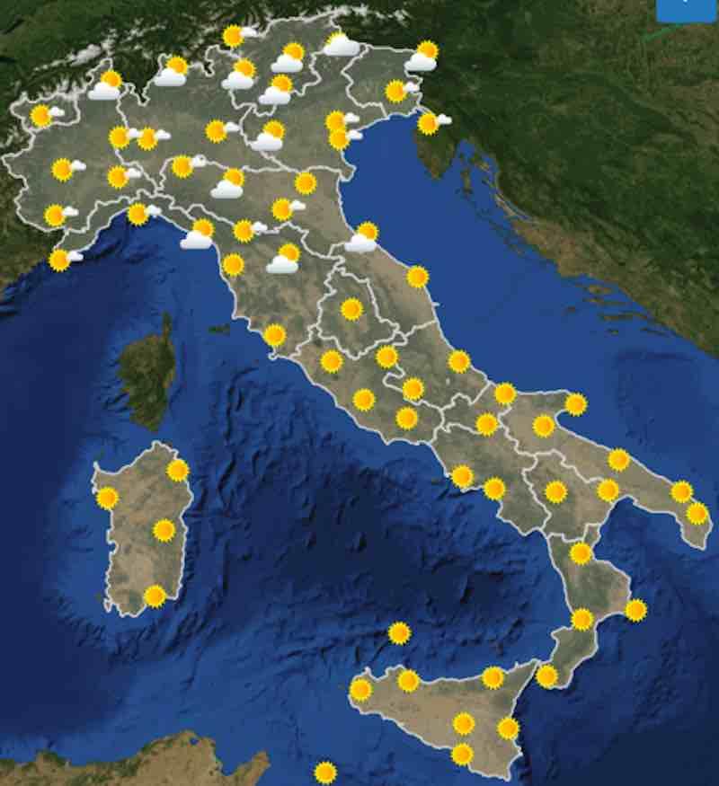 mappa ore 6 - Previsioni del tempo Domenica 21 luglio in Italia- nuvolosità, temperature, venti e mari - meteoweek.com