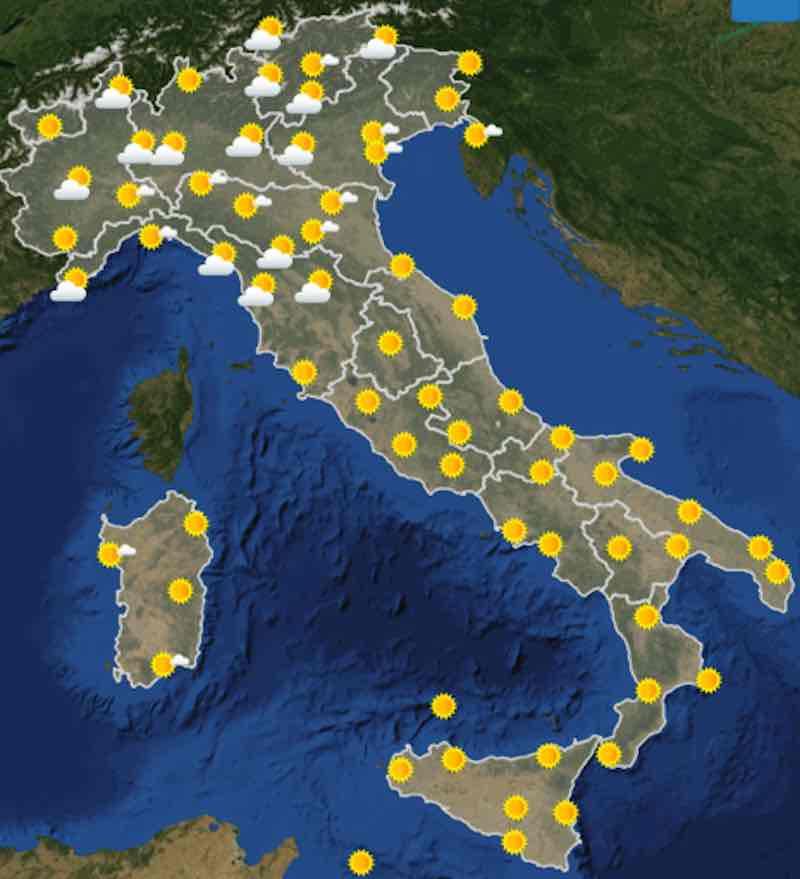 mappa ore 6 - Previsioni meteo oggi mercoledì 17 luglio- nuvolosità, temperature, venti e mari in Italia - meteoweek.com