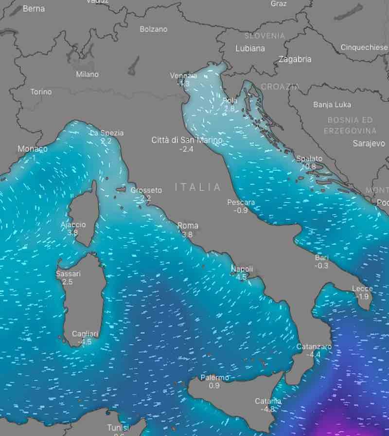 mappe mari - Previsioni meteo oggi mercoledì 17 luglio- nuvolosità, temperature, venti e mari in Italia - meteoweek.com