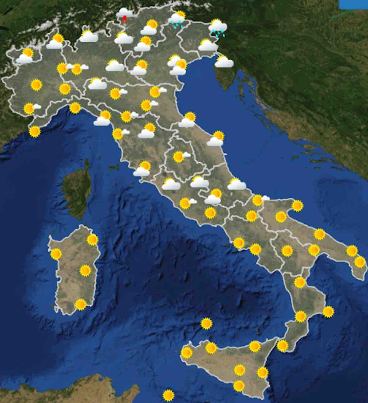 mappe ore 12 - Previsioni Meteo oggi domenica 21 luglio 2019 in Italia, tempo, temperature mari  e venti - meteoweek.com
