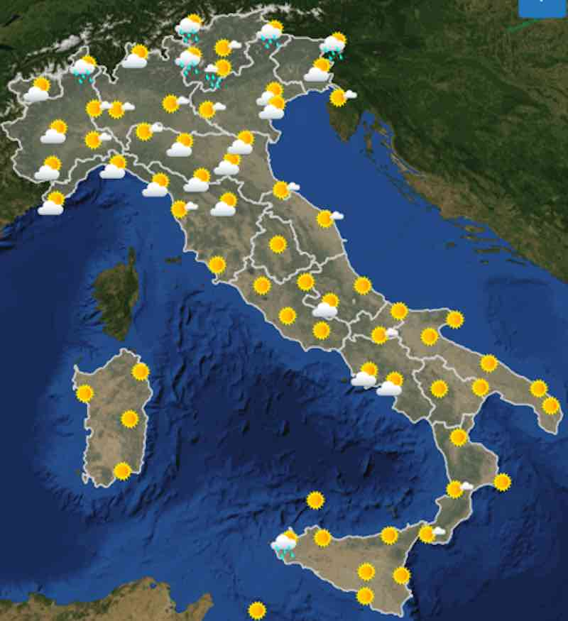 mappe ore 12 - Previsioni del tempo Domenica 21 luglio in Italia- nuvolosità, temperature, venti e mari - meteoweek.com