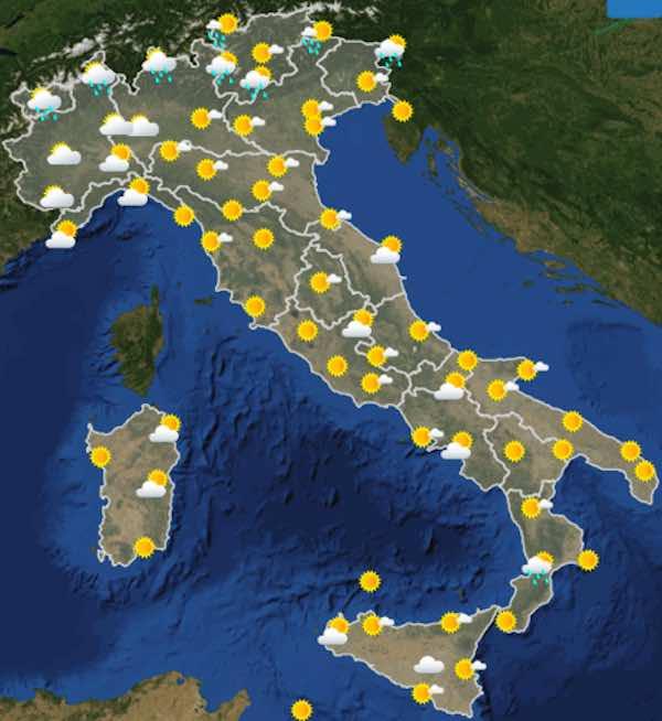 mappe ore 12 - Previsioni del tempo sabato 20 luglio in Italia- nuvolosità, temperature, venti e mari - meteoweek.com