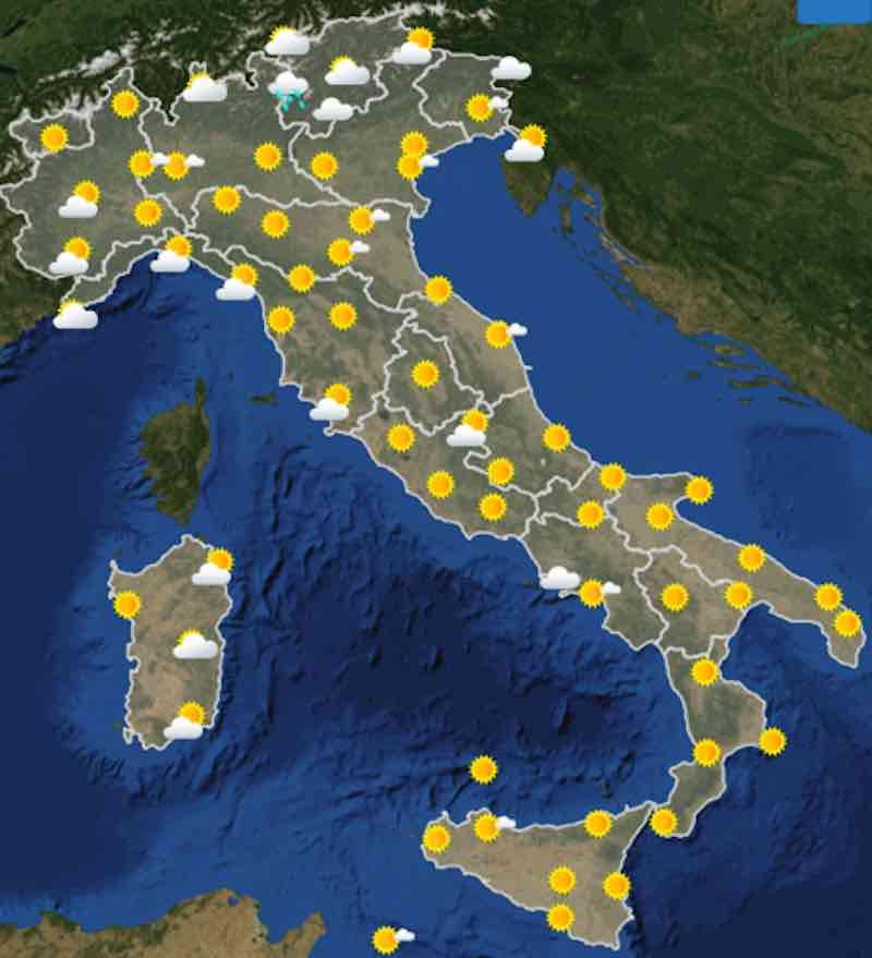mappe ore 12 - Previsioni meteo oggi mercoledì 17 luglio- nuvolosità, temperature, venti e mari in Italia - meteoweek.com