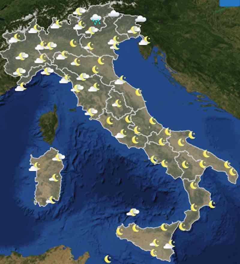 mappe ore 18 - Previsioni meteo oggi mercoledì 17 luglio- nuvolosità, temperature, venti e mari in Italia - meteoweek.com