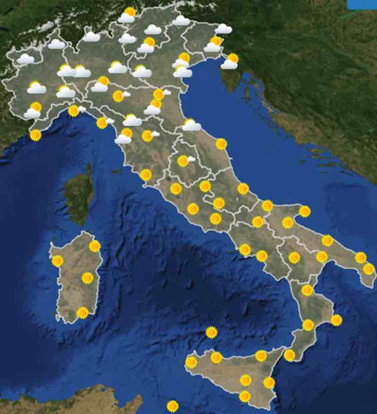 mappe ore 6 - Previsioni Meteo oggi domenica 21 luglio 2019 in Italia, tempo, temperature mari  e venti - meteoweek.com