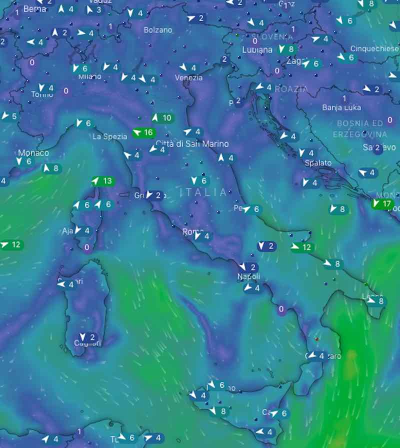 mappe venti - Previsioni meteo oggi mercoledì 17 luglio- nuvolosità, temperature, venti e mari in Italia - meteoweek.com