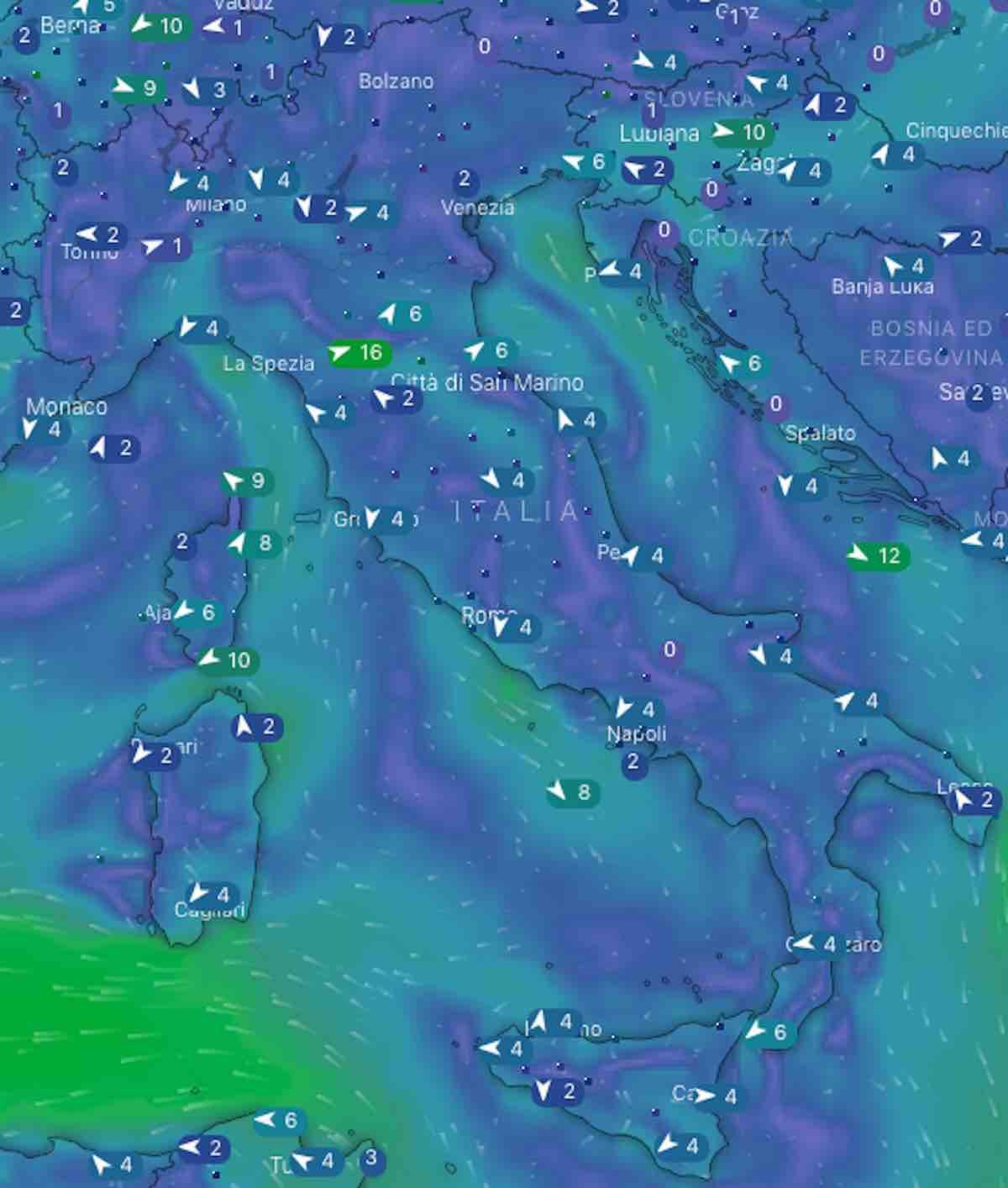 mappe mari e venti - Previsioni Meteo oggi domenica 21 luglio 2019 in Italia, tempo, temperature mari  e venti - meteoweek.com