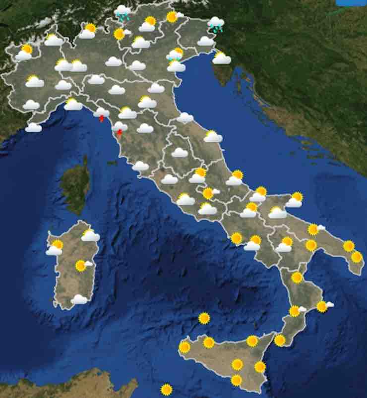Previsioni meteo 8 agosto: piogge al Centro-Nord