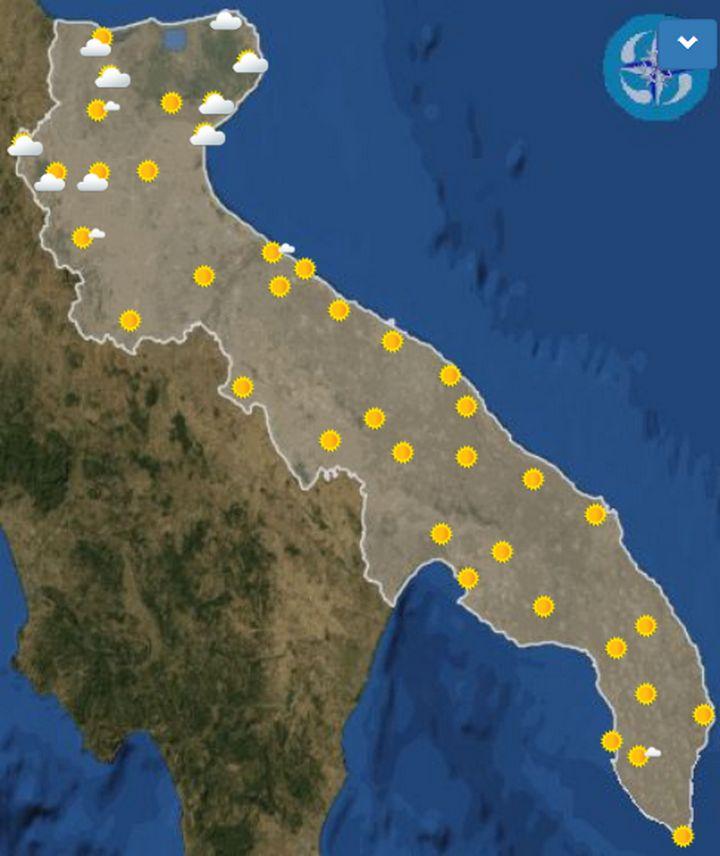 Meteo Taranto domani domenica 13 ottobre cielo poco nuvoloso