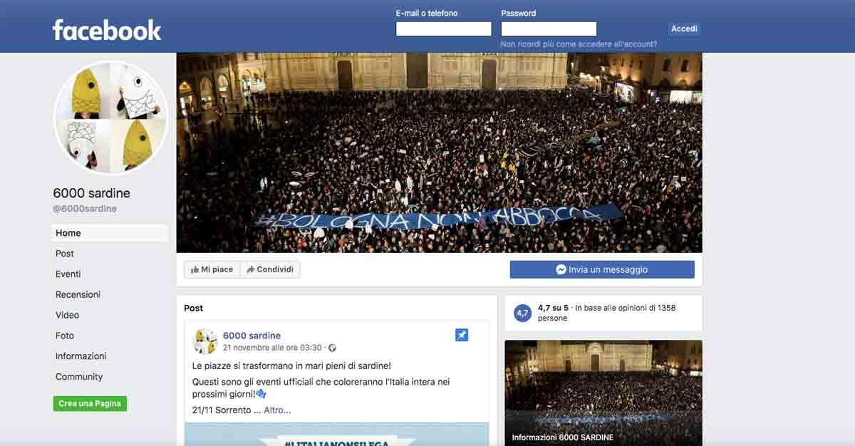 sbloccata pagina facebook sardine