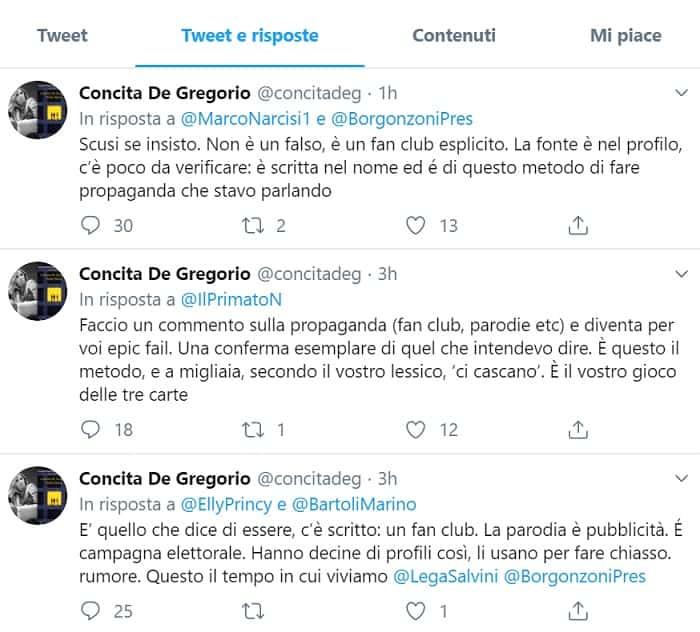 risposta a tweet De Gregorio su Borgonzoni