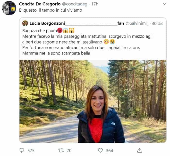 tweet De Gregorio su Borgonzoni-min