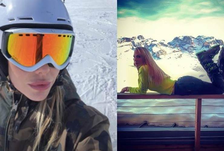 Ilary Blasi sulla neve col cappotto militare: il costo da capogiro