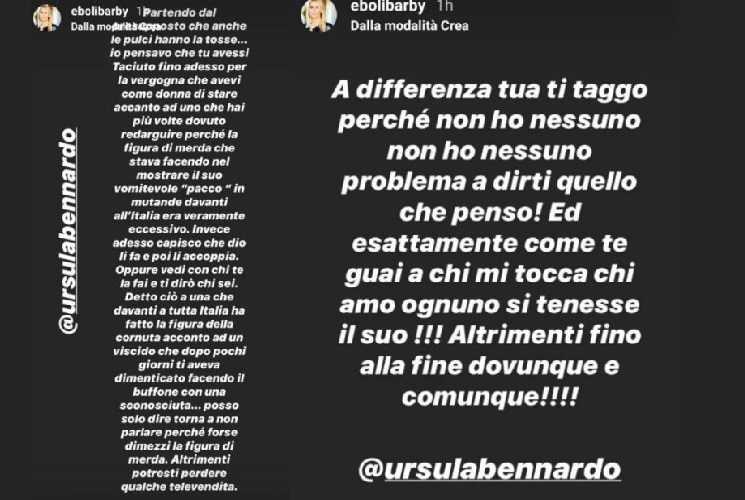 Ursula Bennardo scontro GF Vip