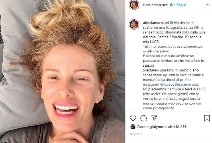 Alessia Marcuzzi senza trucco: rughe e macchie sul viso