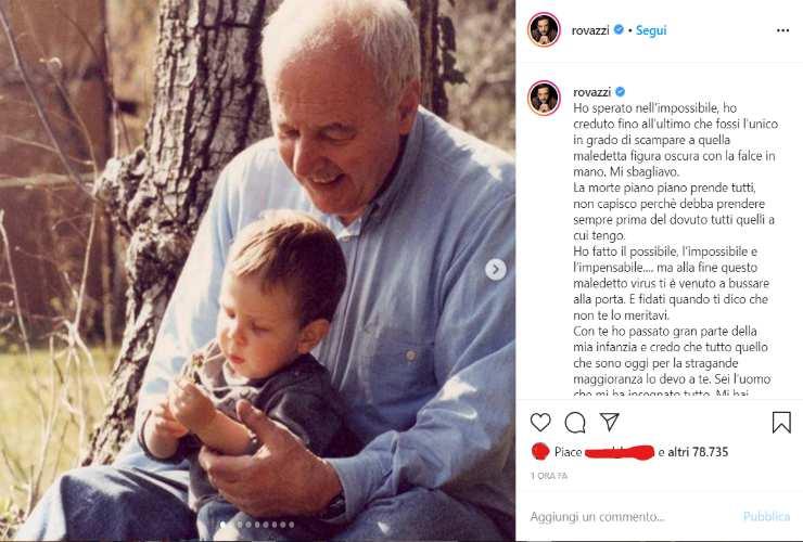 Coronavirus, morto il nonno di Fabio Rovazzi: l'addio su Instagram