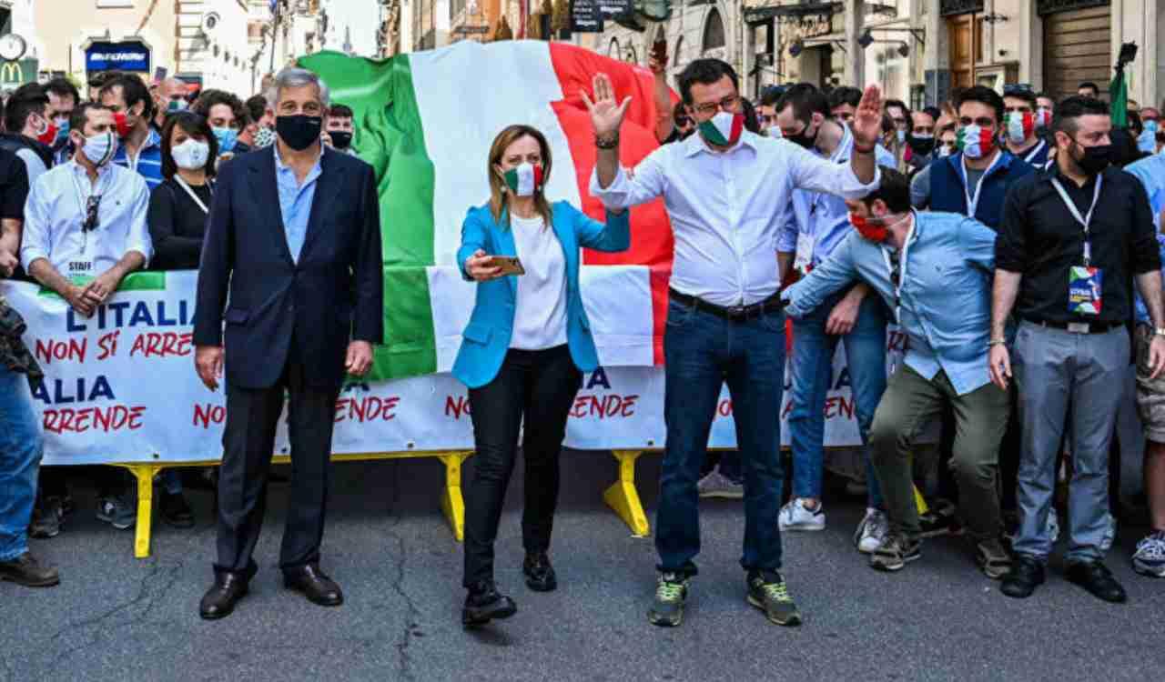 Centrodestra sempre più spaccato: Meloni, Salvini e Tajani a