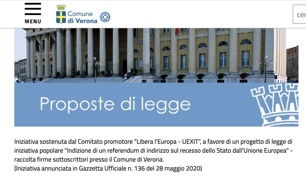Comune di Verona vuole uscire dall'UE