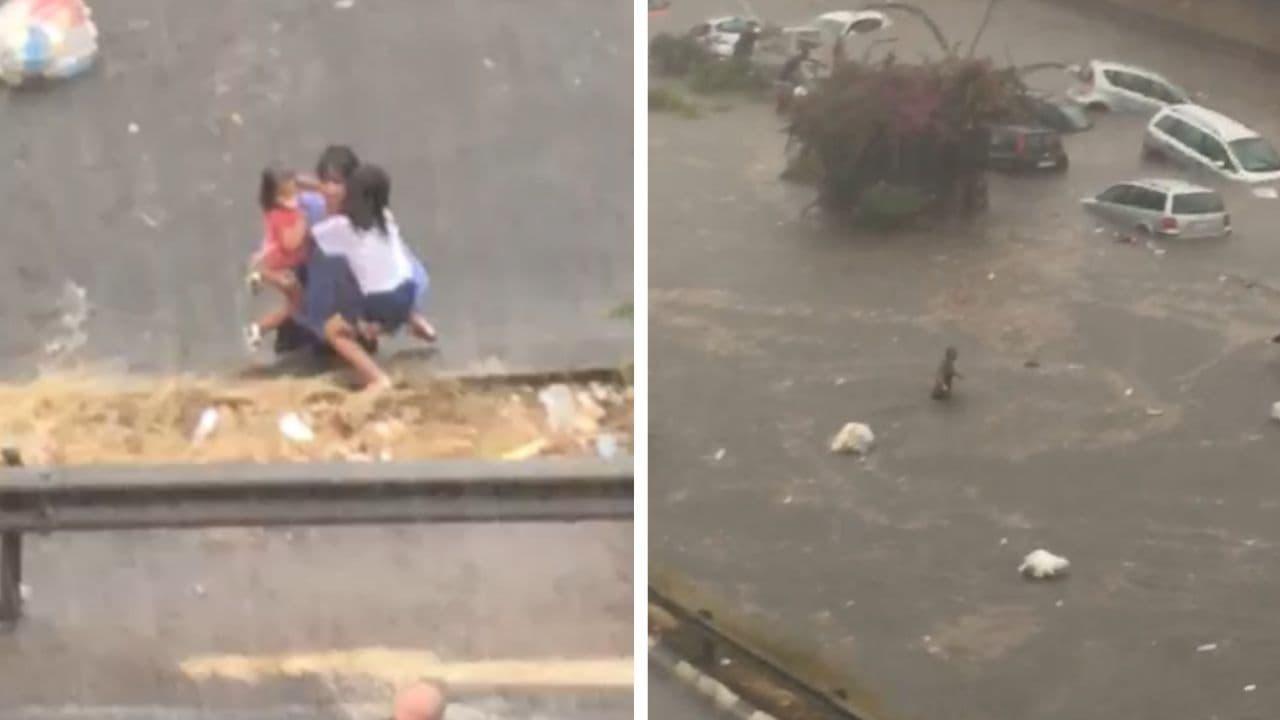 bomba d'acqua a palermo - gente nuota in strada