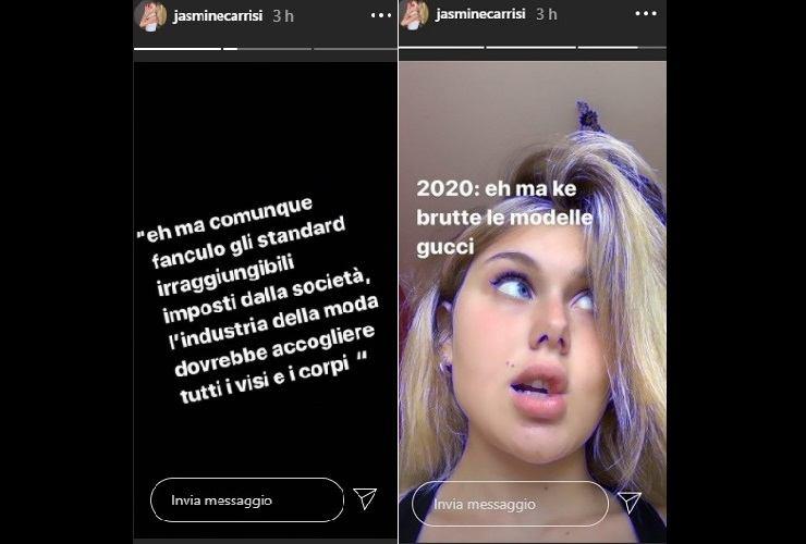 Jasmine Carrisi contro l'industria della moda
