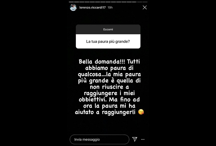 Lorenzo Riccardi aiutato dalla paura