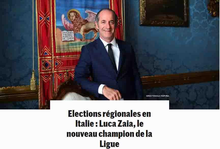 Luca Zaia celebrato da Le Monde