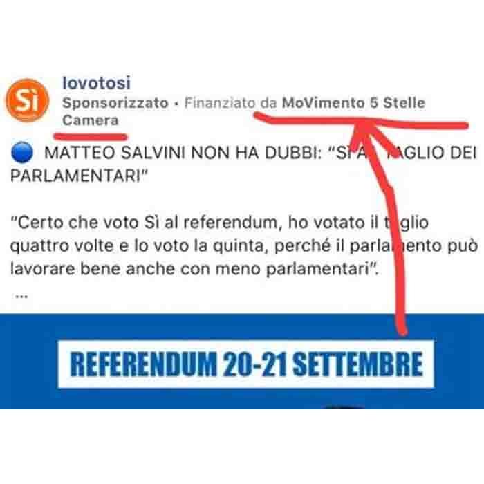 Referendum, bufera M5S per post Facebook