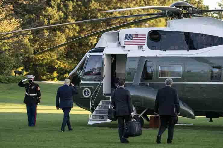 Trump trasferimento in elicottero in ospedale