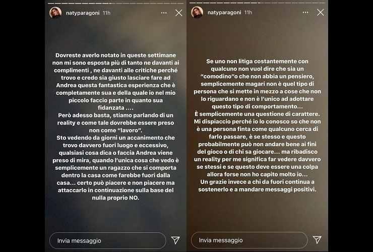 Natalia Paragoni prende le difese di Andrea