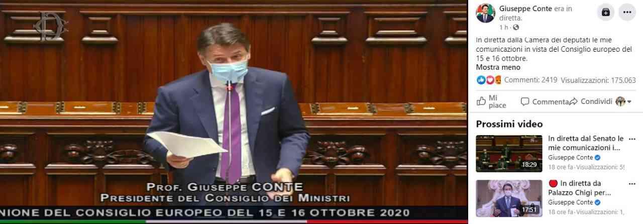 Giuseppe Conte, presidente del Consiglio, alla Camera dei Deputati. Credit: Giuseppe Conte Facebook