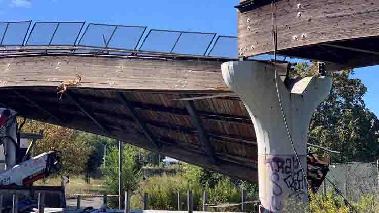 crollo ponte a Roma ciclabile