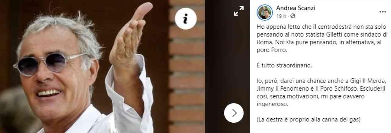 """Giletti candidato a Roma, Scanzi: """"La destra è alla canna del gas"""""""