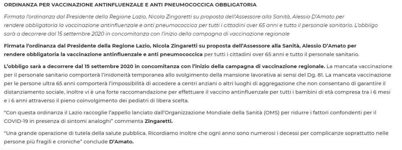 Lazio, il Tar annulla l'ordinanza dei vaccini obbligatori per gli over 65