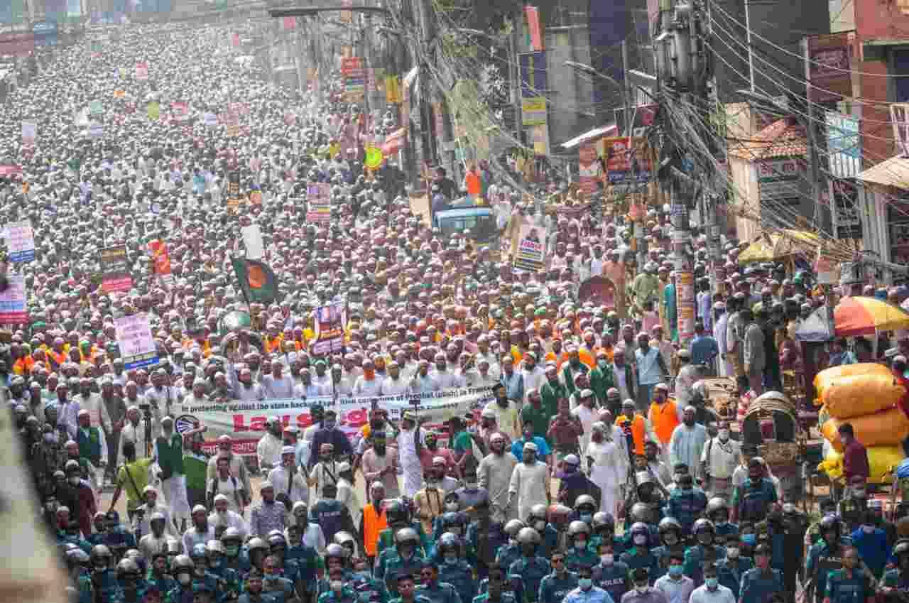 Bangladesh proteste francia