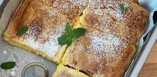 Torta di sfoglia ripiena con crema al limone e mascarpone
