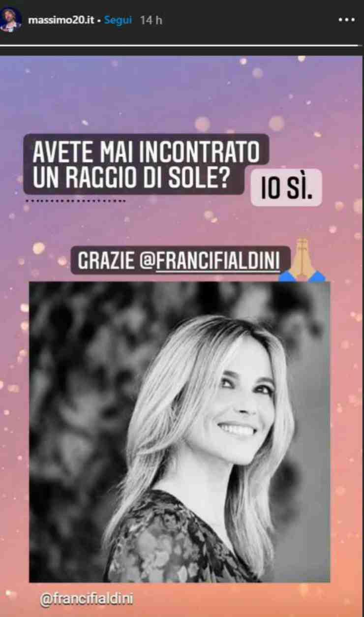 Massimo e la dedica a Francesca - Fonte Instagram