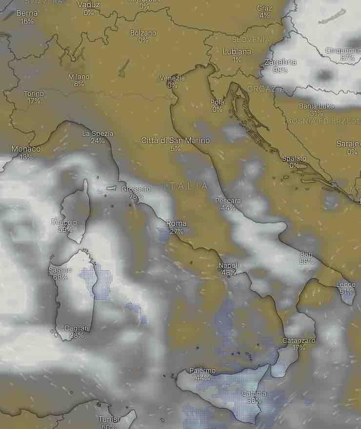 mappa Italia nuvolosità