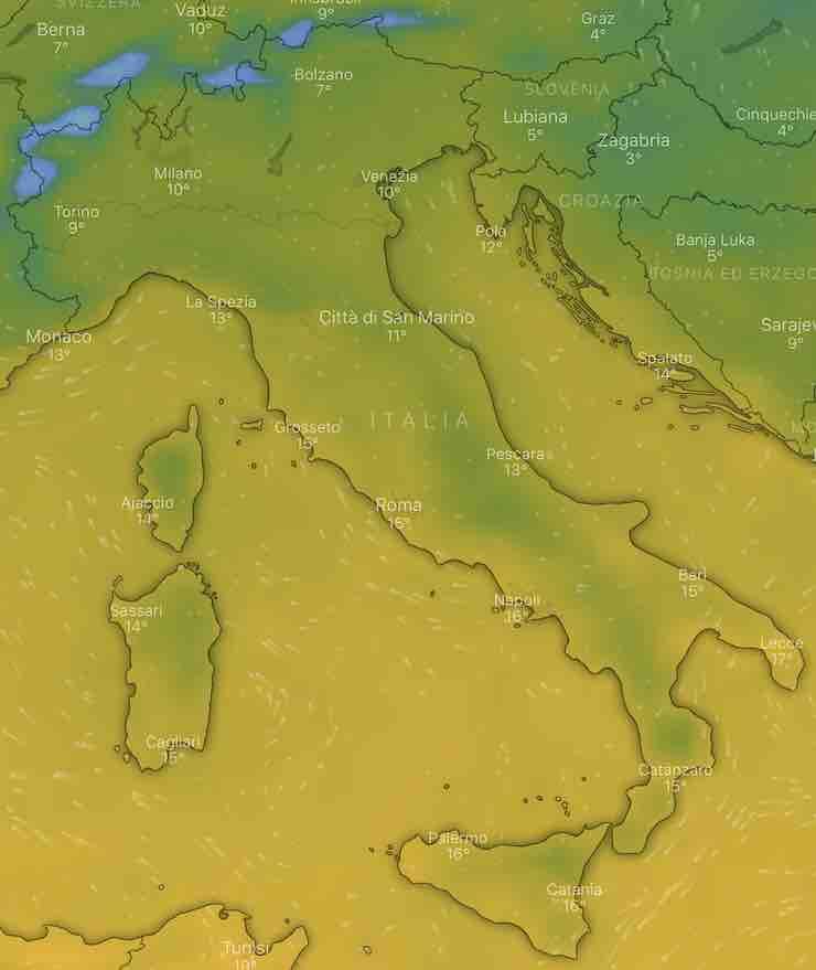 mappa Italia temperature