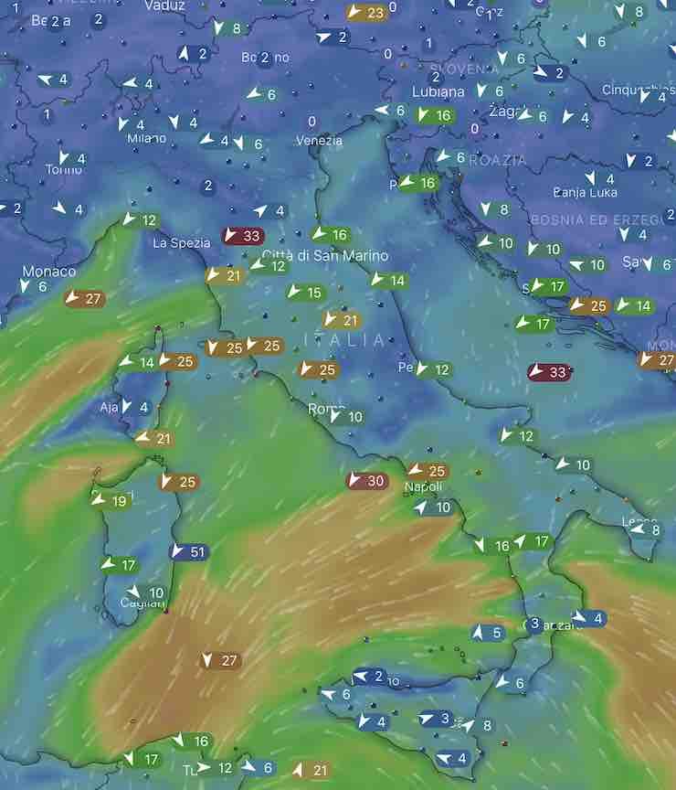 mappa Italia mari e venti