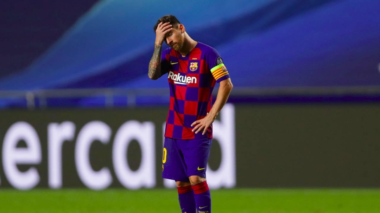 Barcellona, Leo Messi dopo la storica sconfitta 2-8 contro il Bayern Monaco in Champions League, 14 agosto 2020 (foto di Manu Fernandez/Pool via Getty Images)